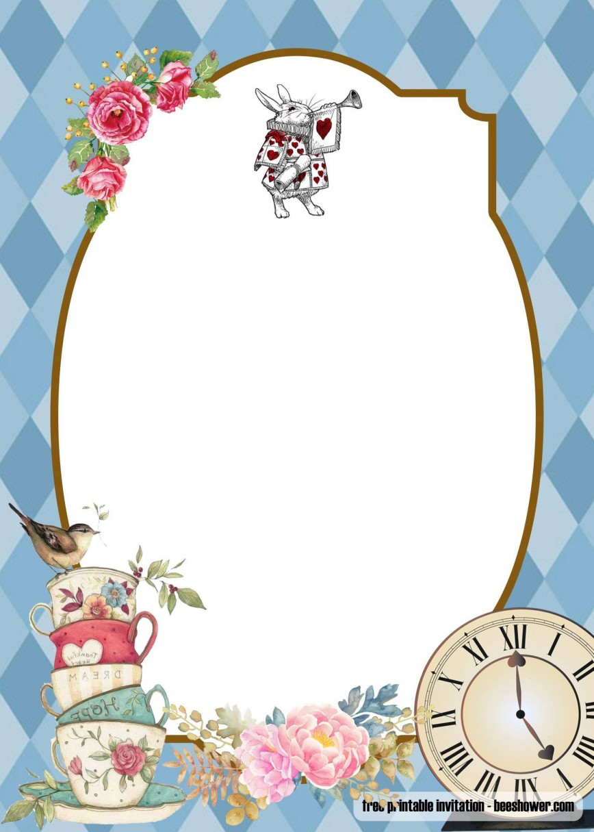 005 Simple Alice In Wonderland Invitation Template Sample  Templates Birthday Free Download
