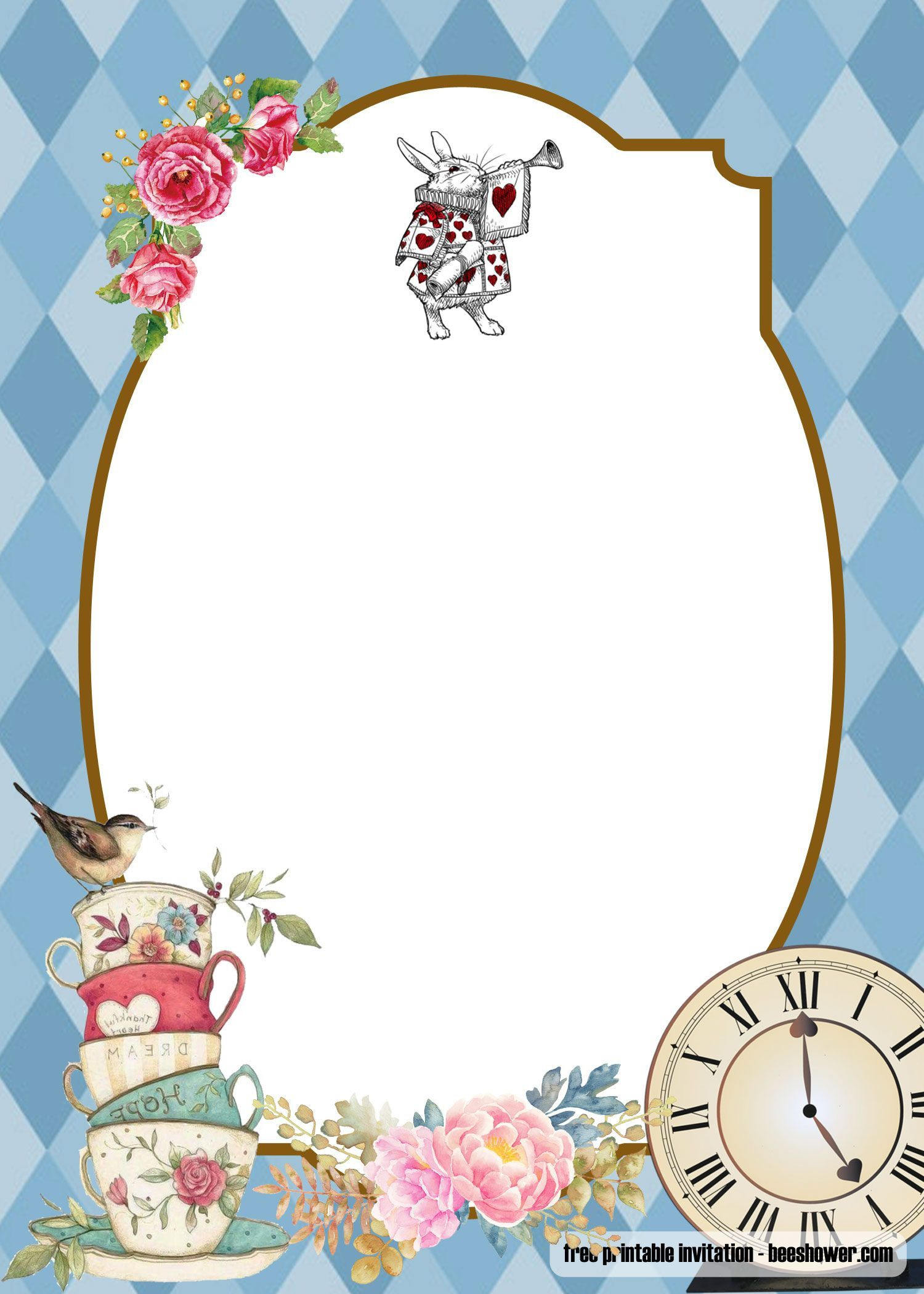 005 Simple Alice In Wonderland Invitation Template Sample  Templates Birthday Free Wedding Wording DownloadFull