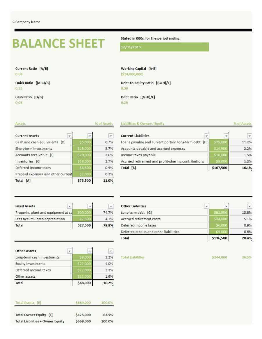 005 Simple Basic Balance Sheet Template Concept  Free For Self Employed Example UkFull