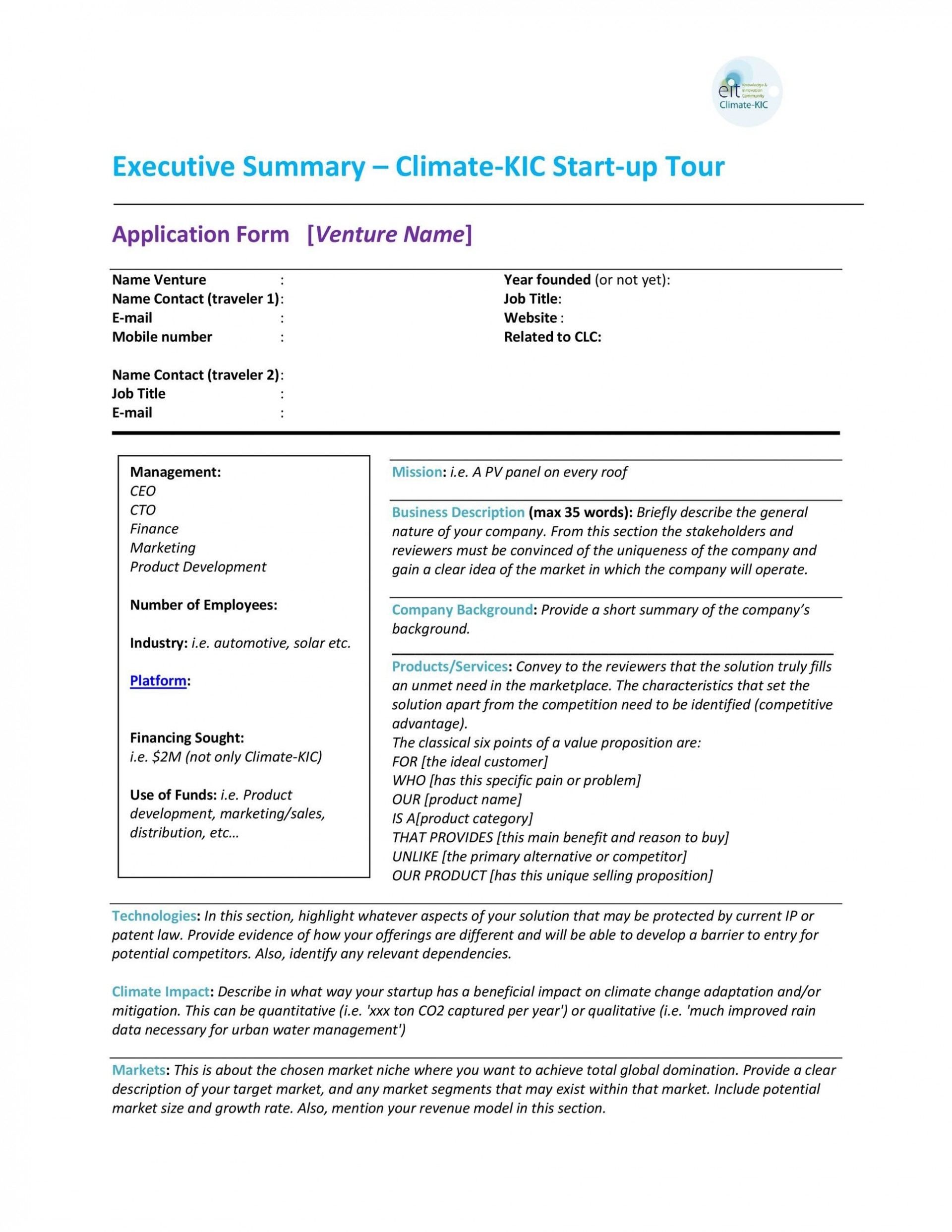 005 Simple Busines Plan Executive Summary Template Word Picture 1920
