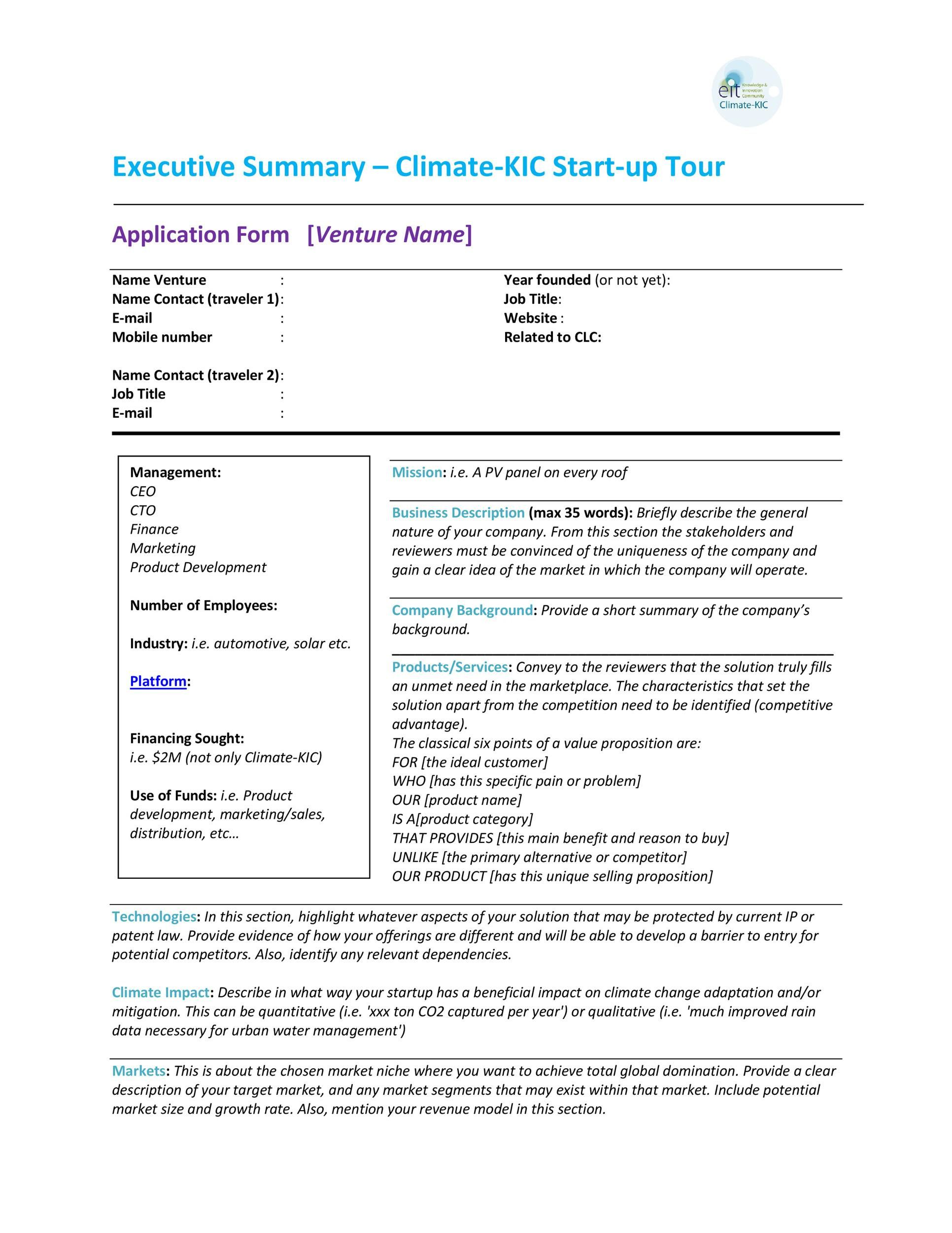 005 Simple Busines Plan Executive Summary Template Word Picture Full