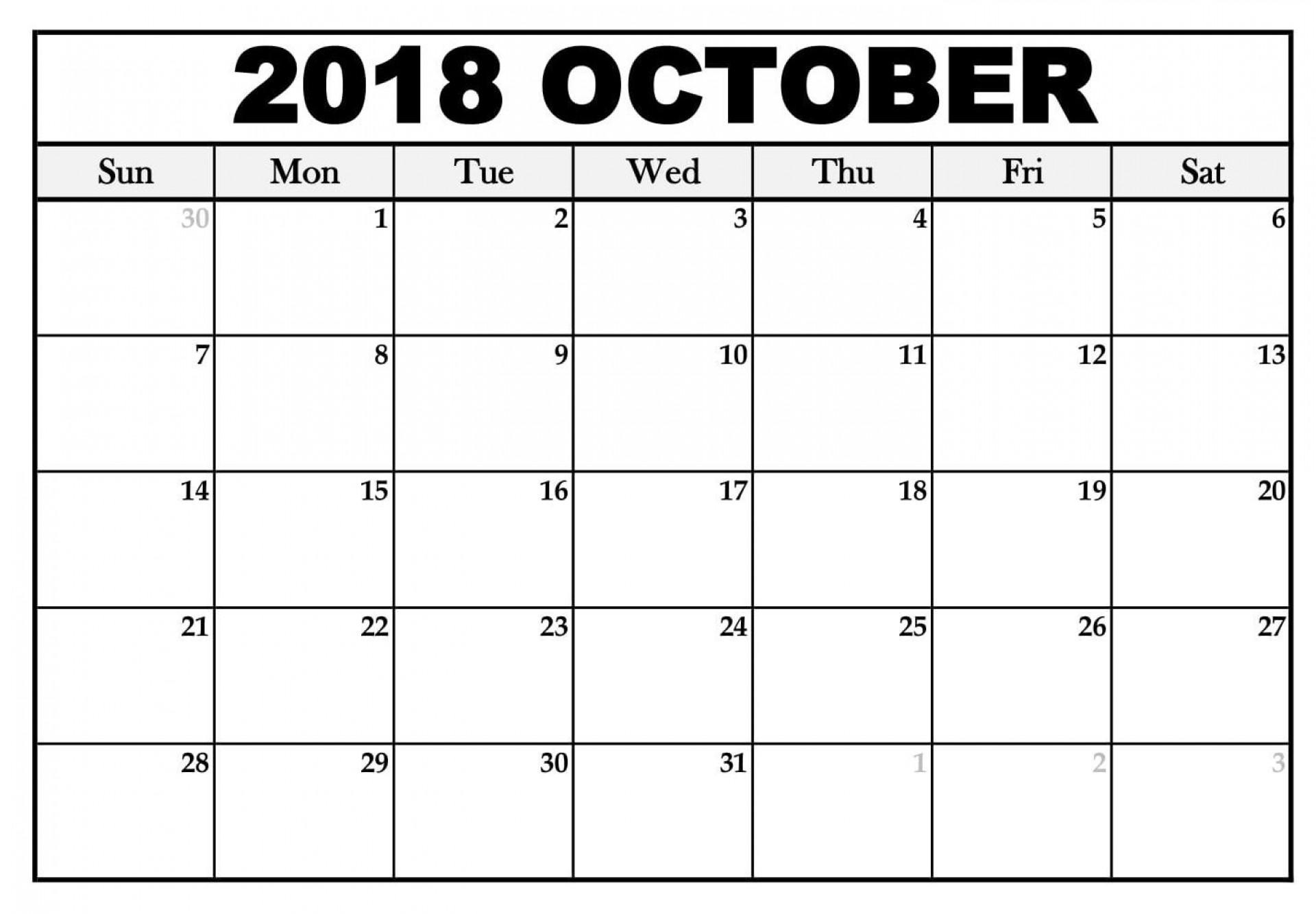 005 Simple Calendar Template October 2018 Word Concept 1920
