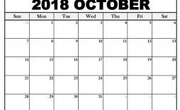 005 Simple Calendar Template October 2018 Word Concept