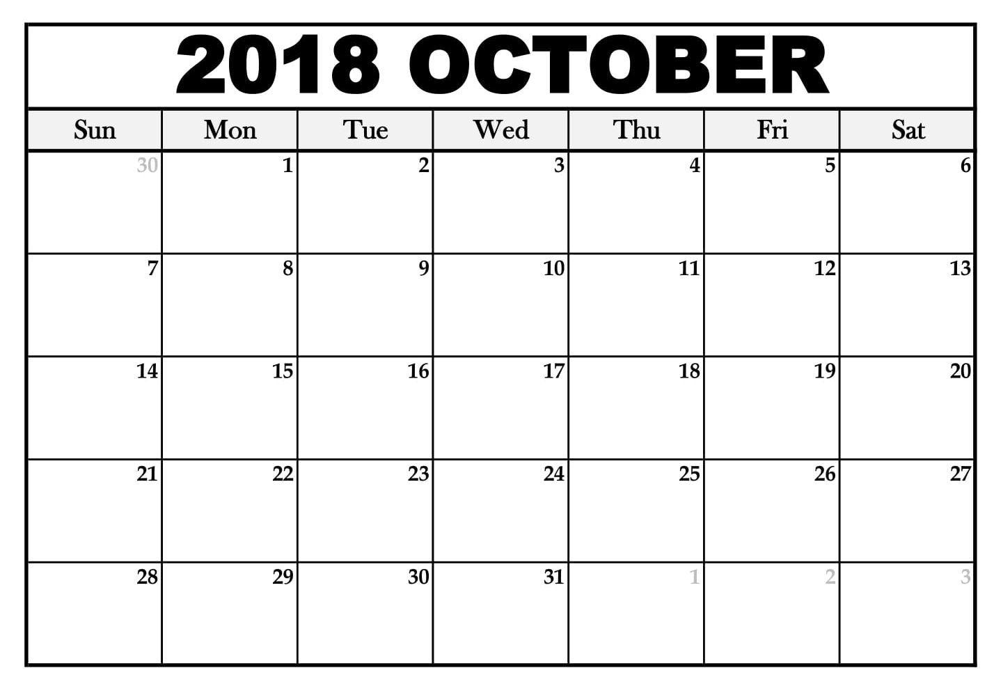 005 Simple Calendar Template October 2018 Word Concept Full