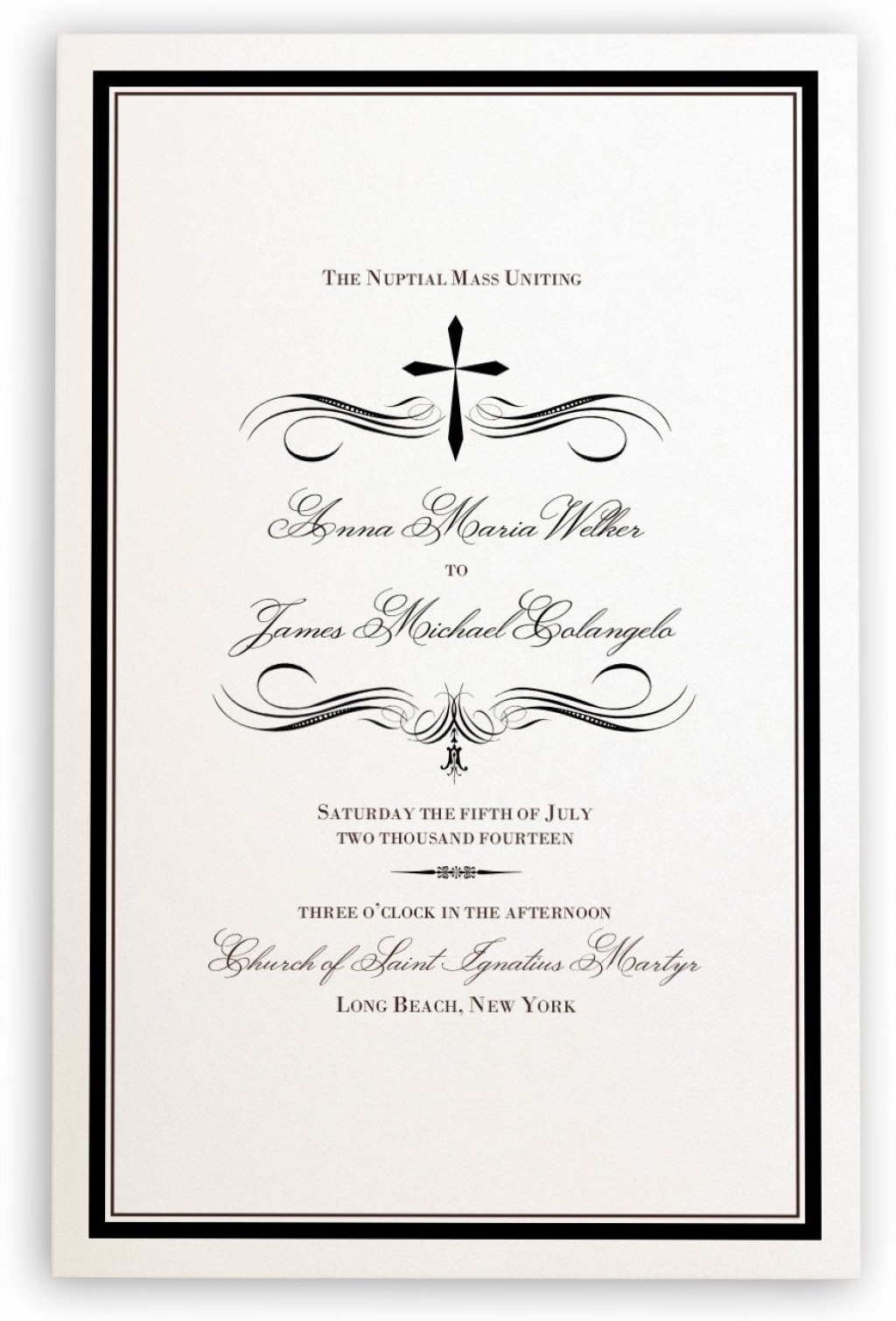005 Simple Catholic Wedding Program Template Highest Quality  Roman Idea (with Readings)Large