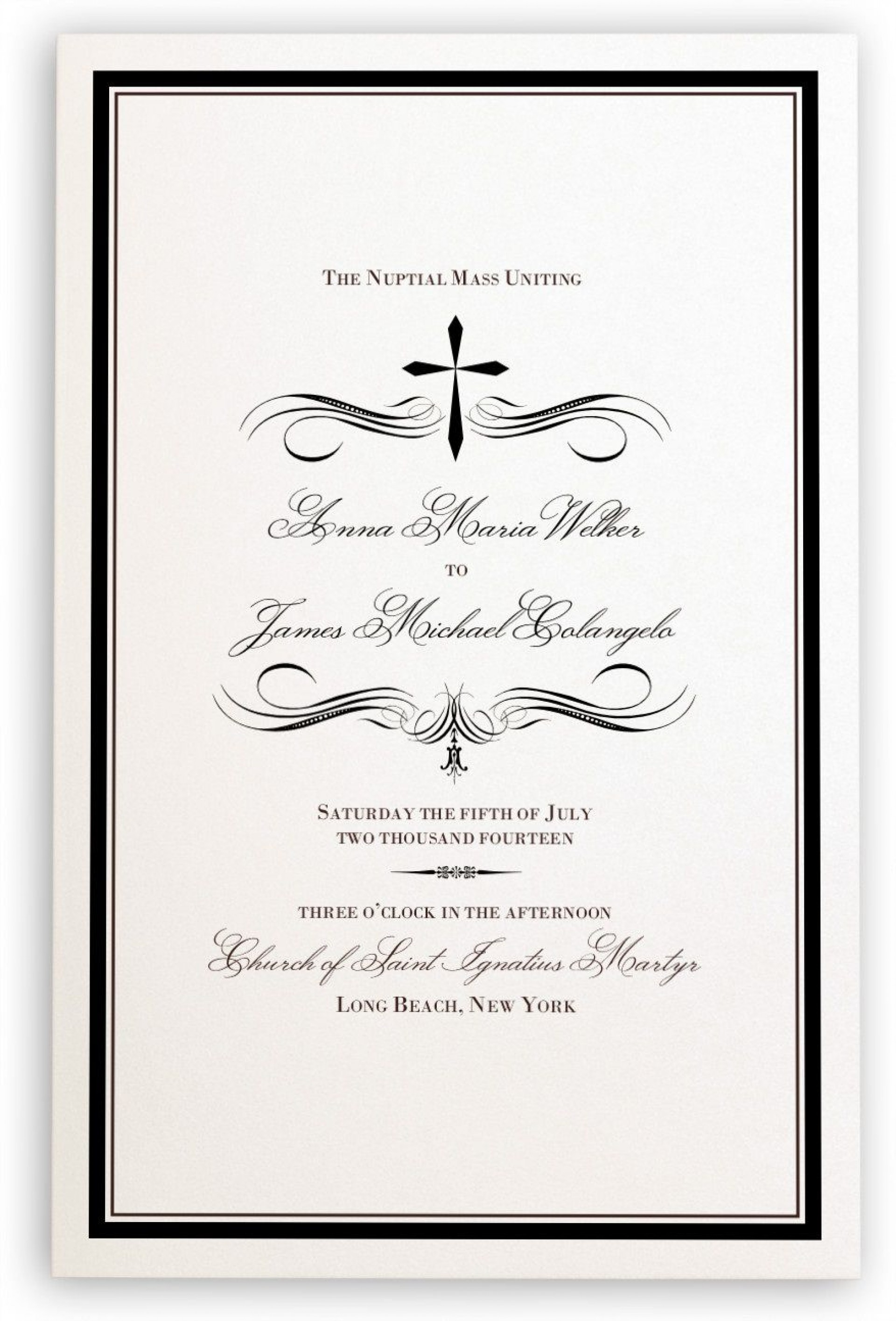 005 Simple Catholic Wedding Program Template Highest Quality  Roman Idea (with Readings)1920