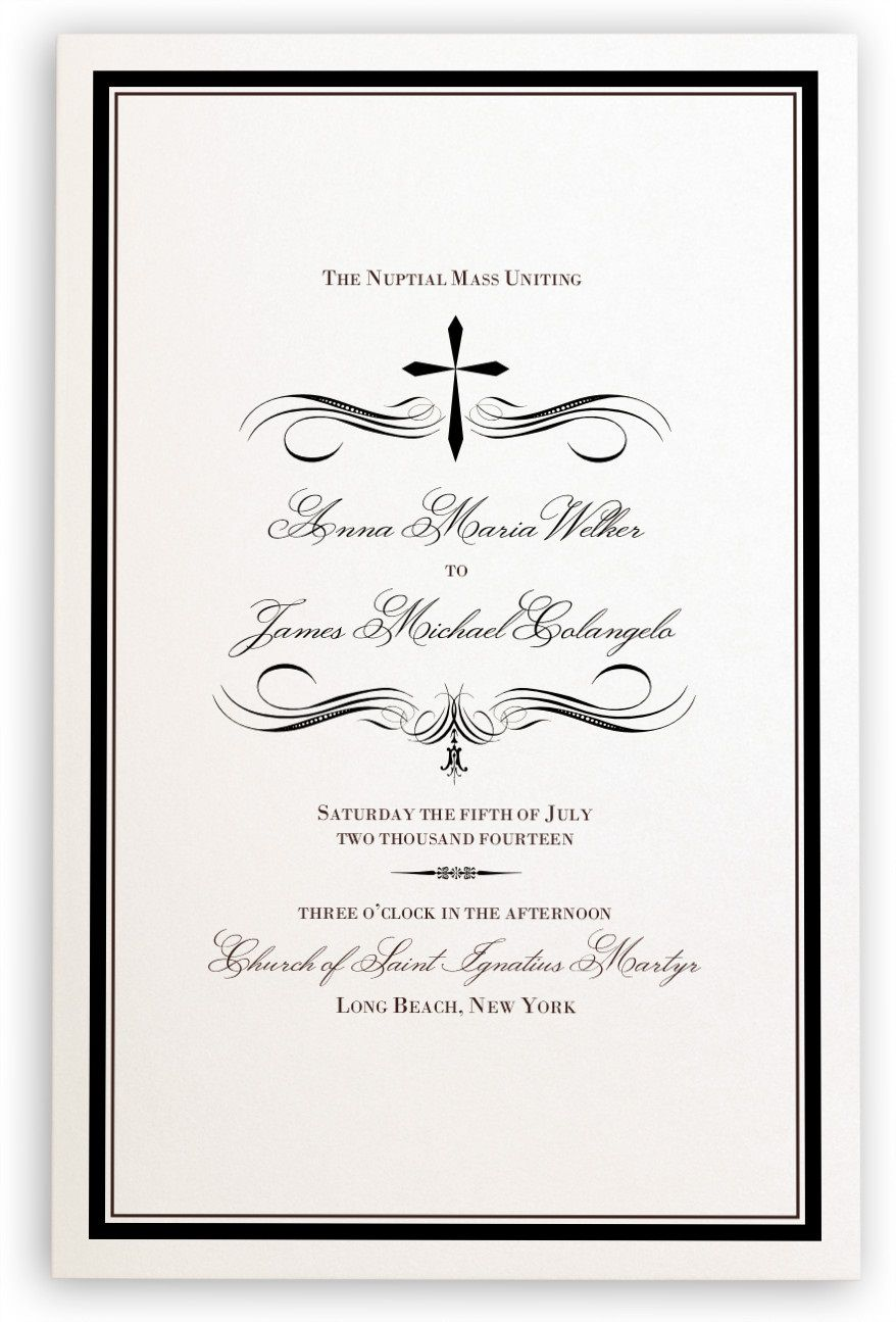 005 Simple Catholic Wedding Program Template Highest Quality  Roman Idea (with Readings)Full