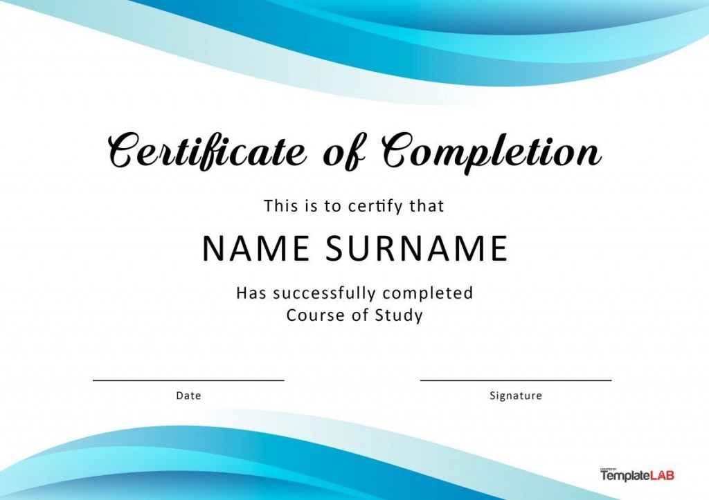 005 Simple Certificate Of Completion Template Free Inspiration  Training Download WordLarge