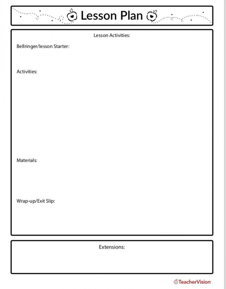 005 Simple Editable Lesson Plan Template Elementary Idea 868