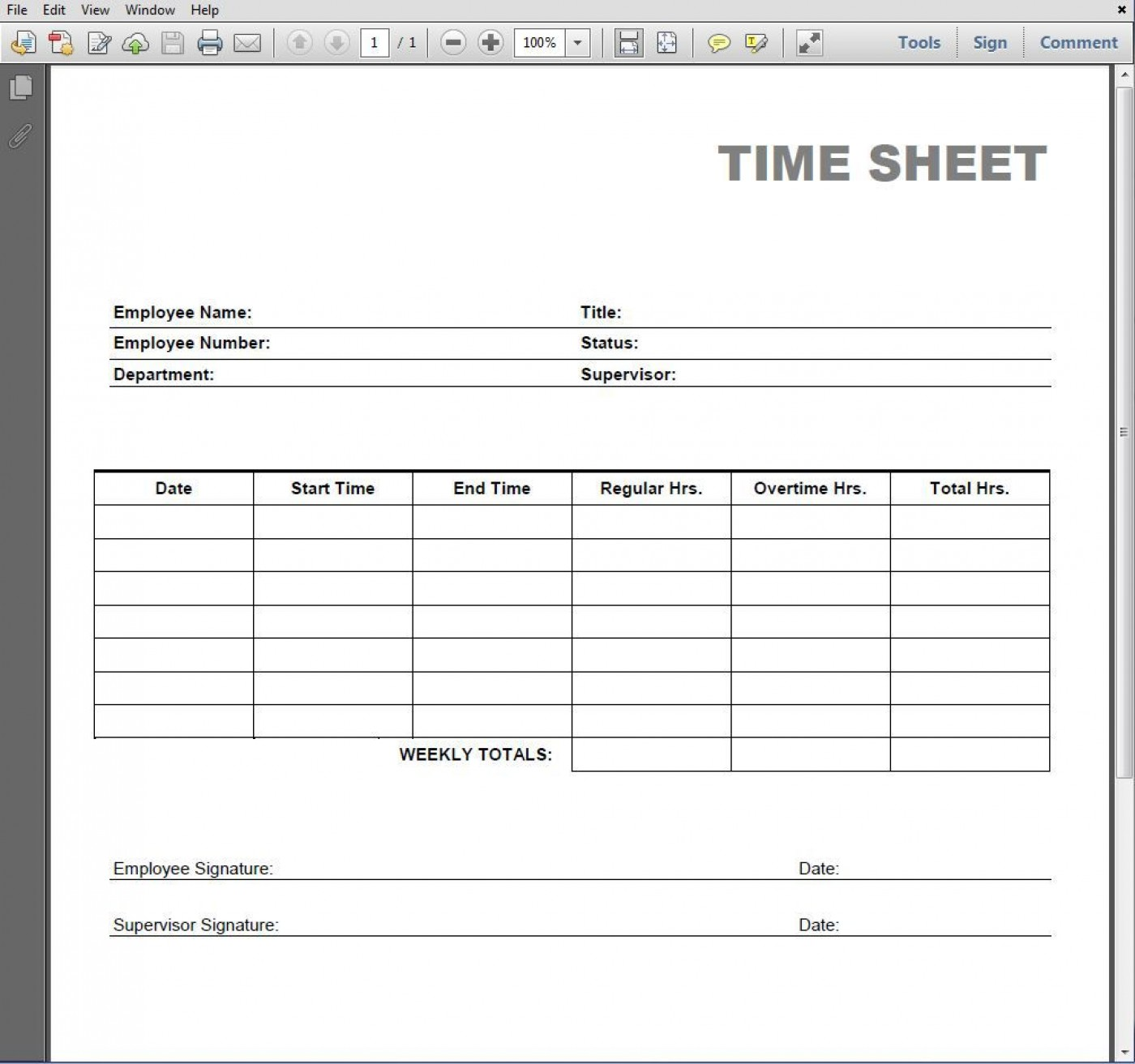 005 Simple Employee Time Card Printable Highest Clarity  Timesheet Template Excel Free Multiple Sheet1400