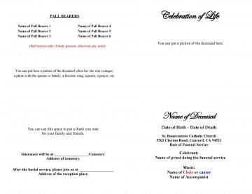 005 Simple Free Celebration Of Life Program Template Download Design 360