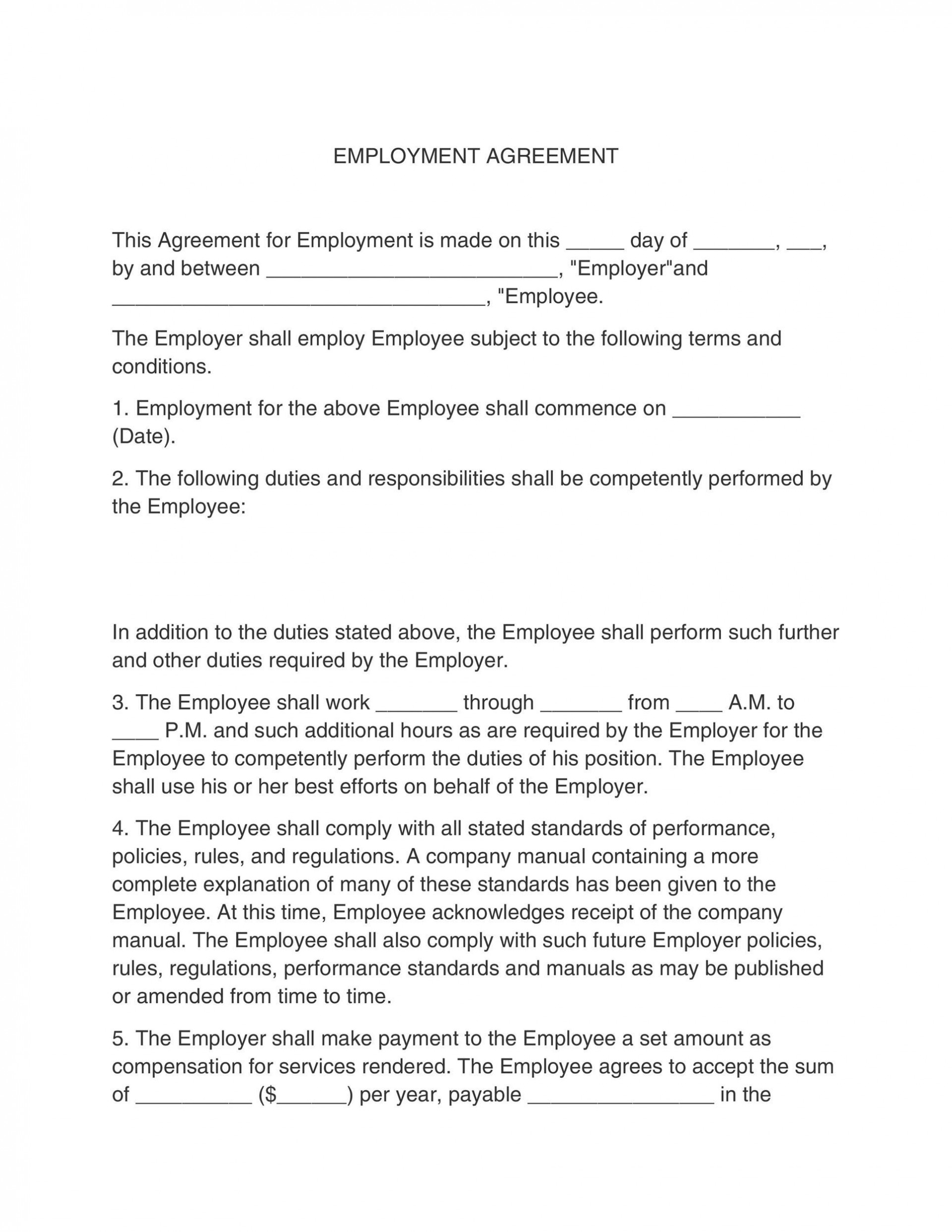 005 Simple Free Employment Contract Template Example  Templates Bc Temporary South Africa Ireland1920