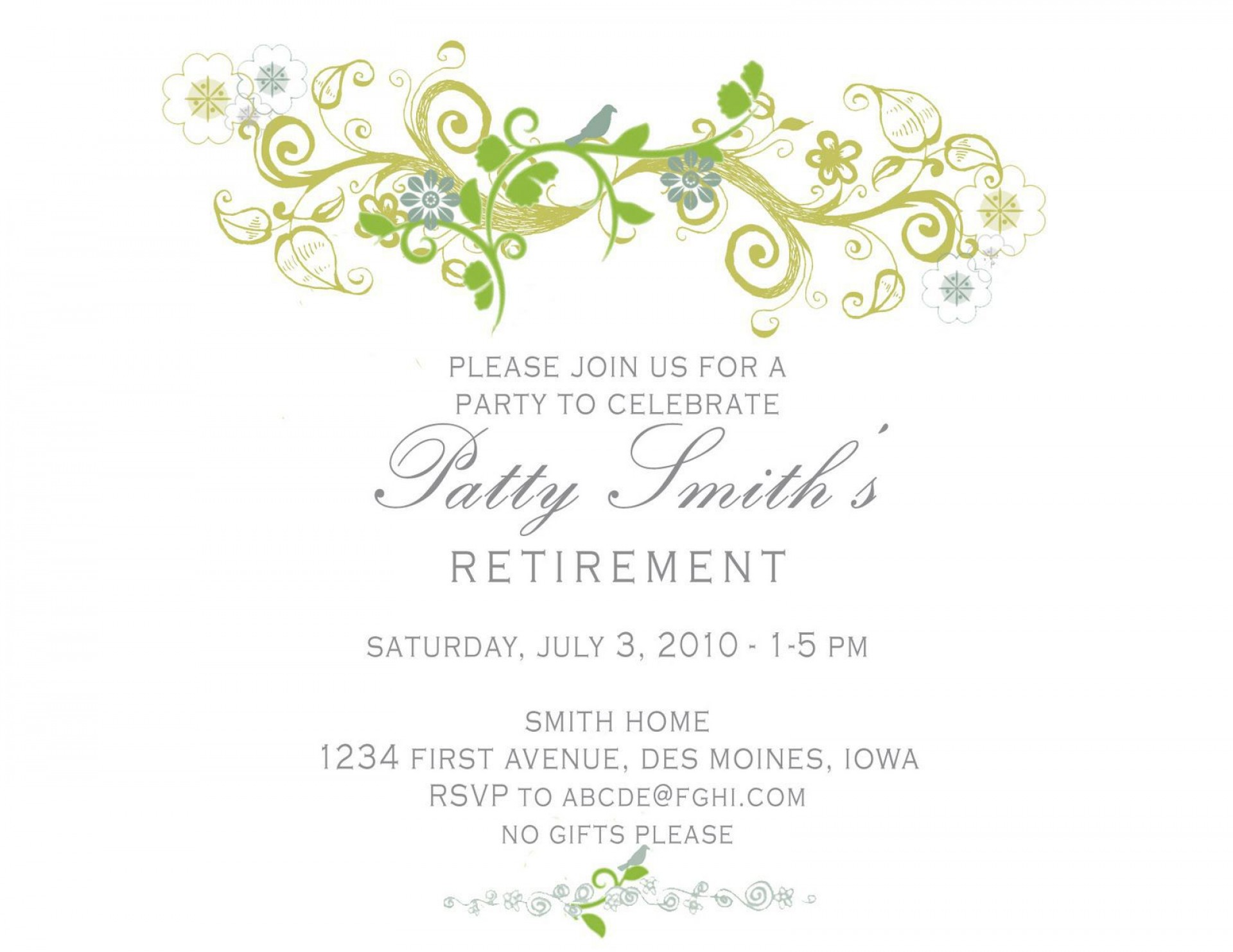 005 Simple Free Retirement Invitation Template Design  Templates Microsoft Word Party Flyer1920