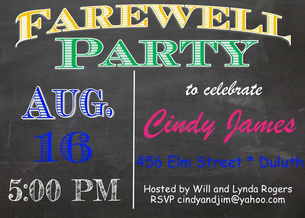 005 Simple Going Away Party Invitation Template Highest Clarity  Free PrintableFull