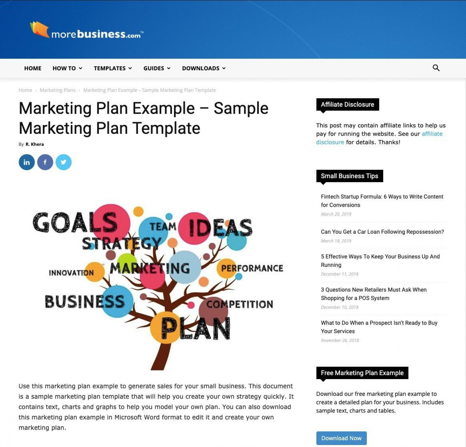 005 Simple Marketing Busines Plan Template Free Example  For Company DigitalFull