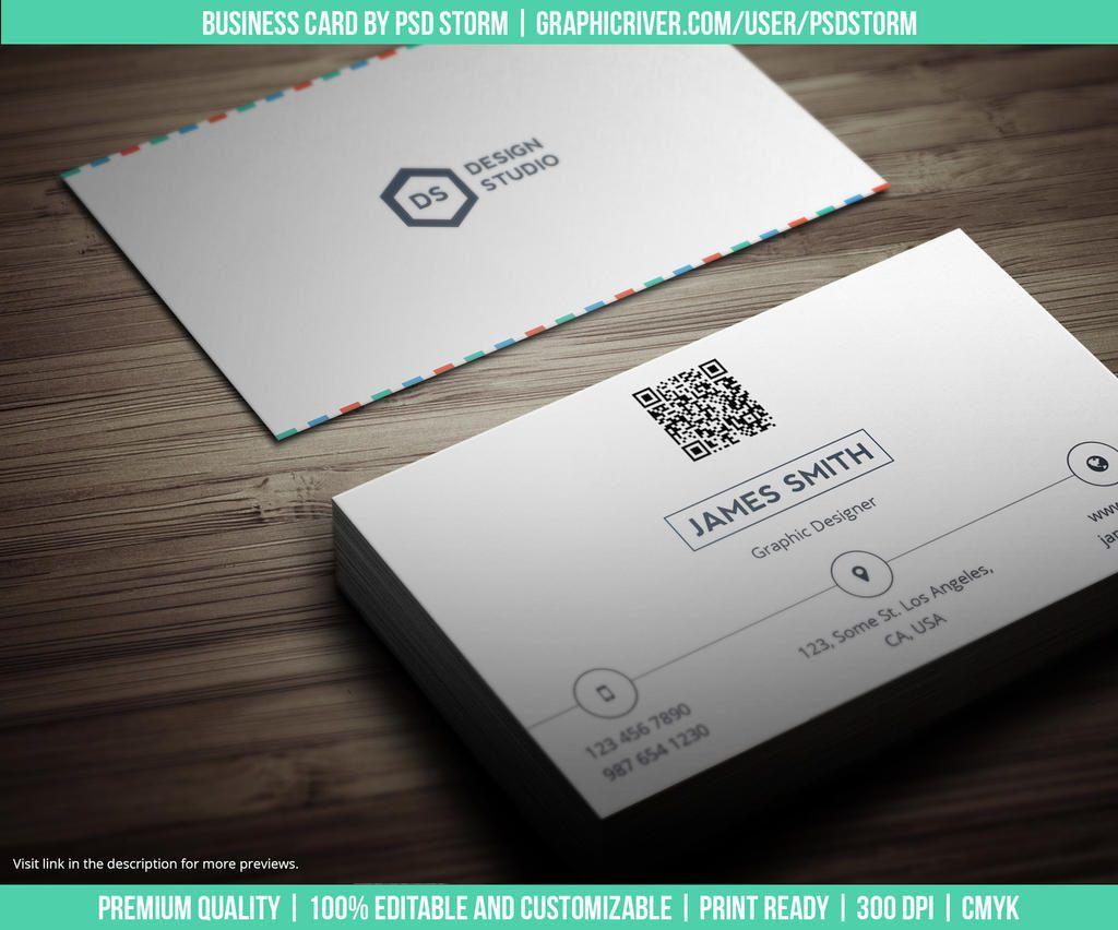 005 Simple Minimalist Busines Card Template Psd High Resolution Full