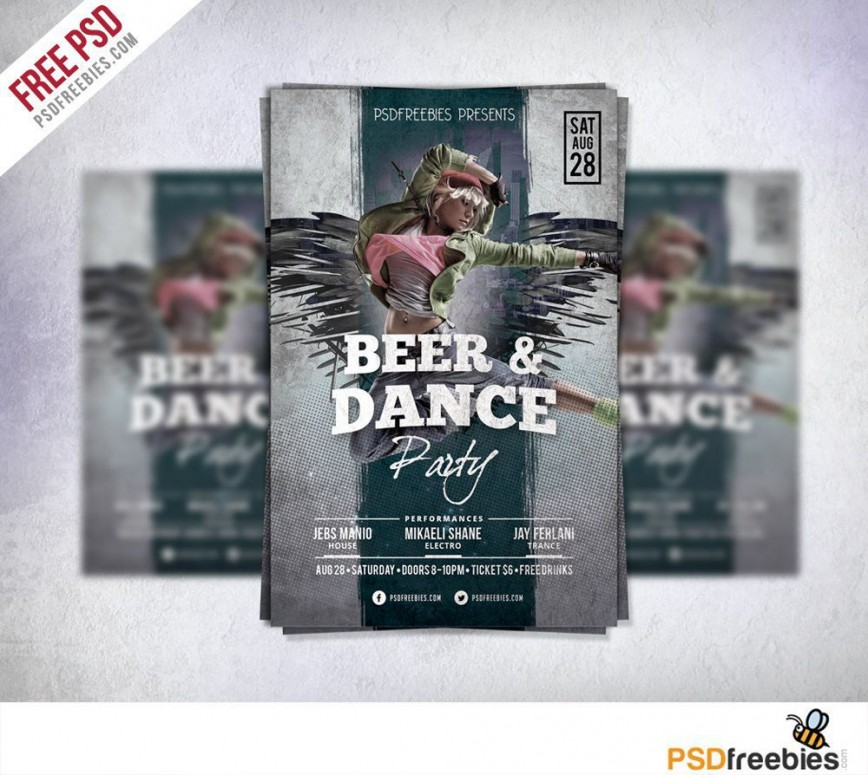 005 Simple Party Flyer Psd Template Free Download Concept  Rave