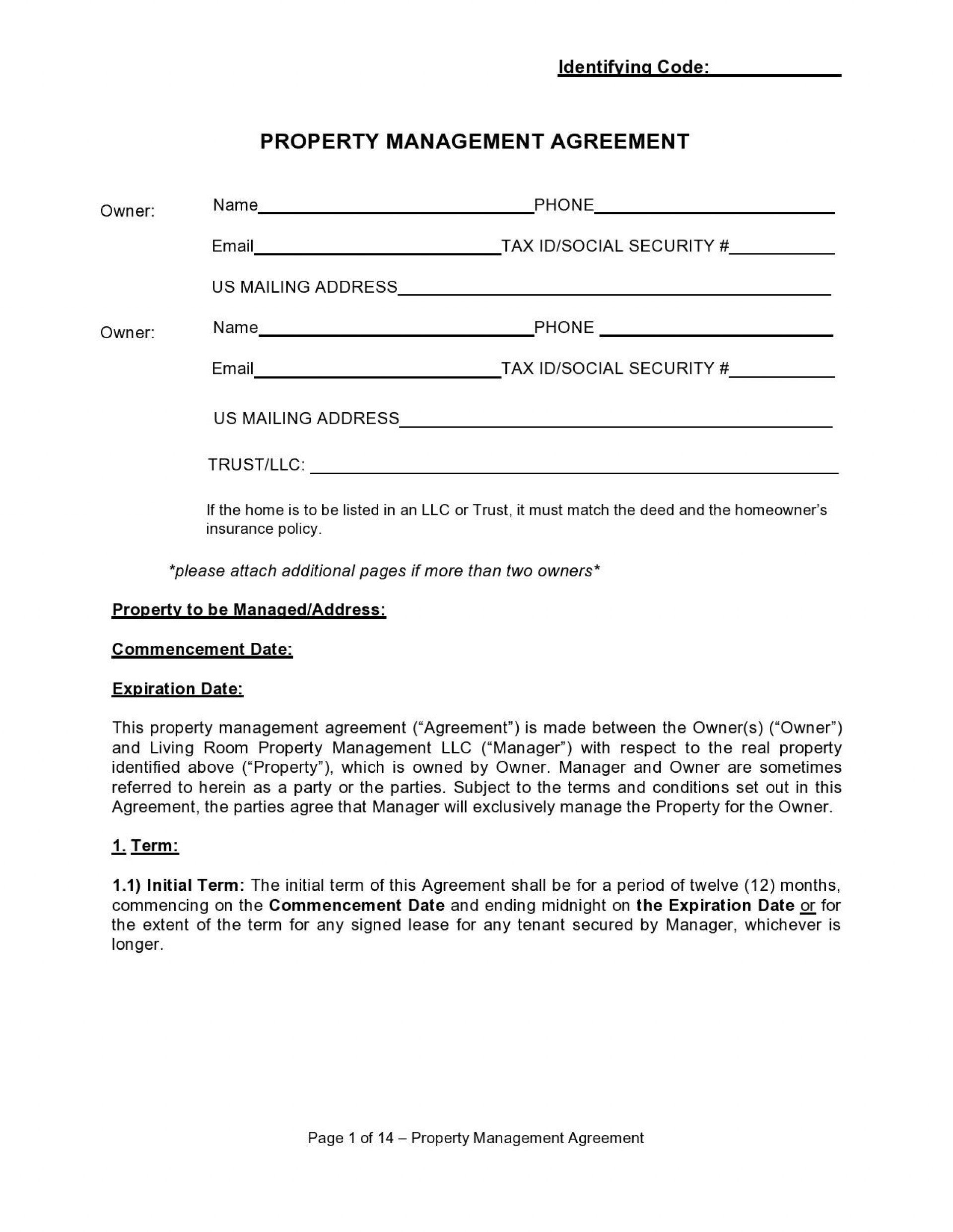 005 Simple Property Management Agreement Template Sample  Templates Termination Of Commercial Form1920