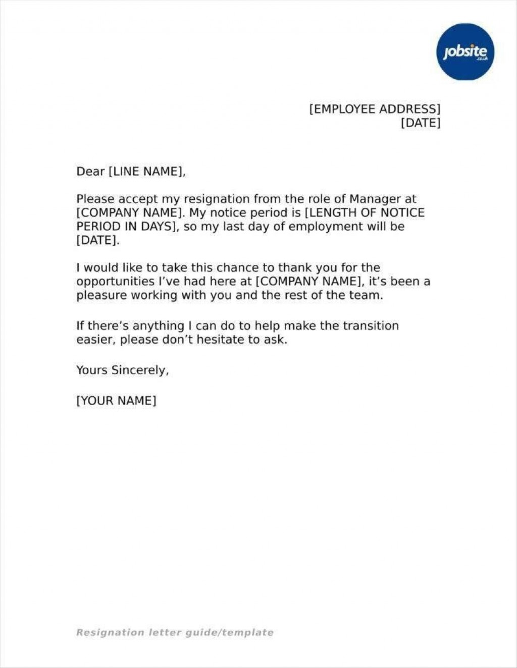 005 Simple Resignation Letter Sample Free Doc Concept  .docLarge