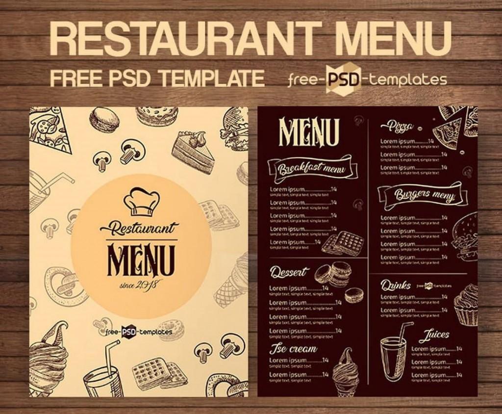 005 Simple Restaurant Menu Template Free Picture  Card Download Indesign WordLarge
