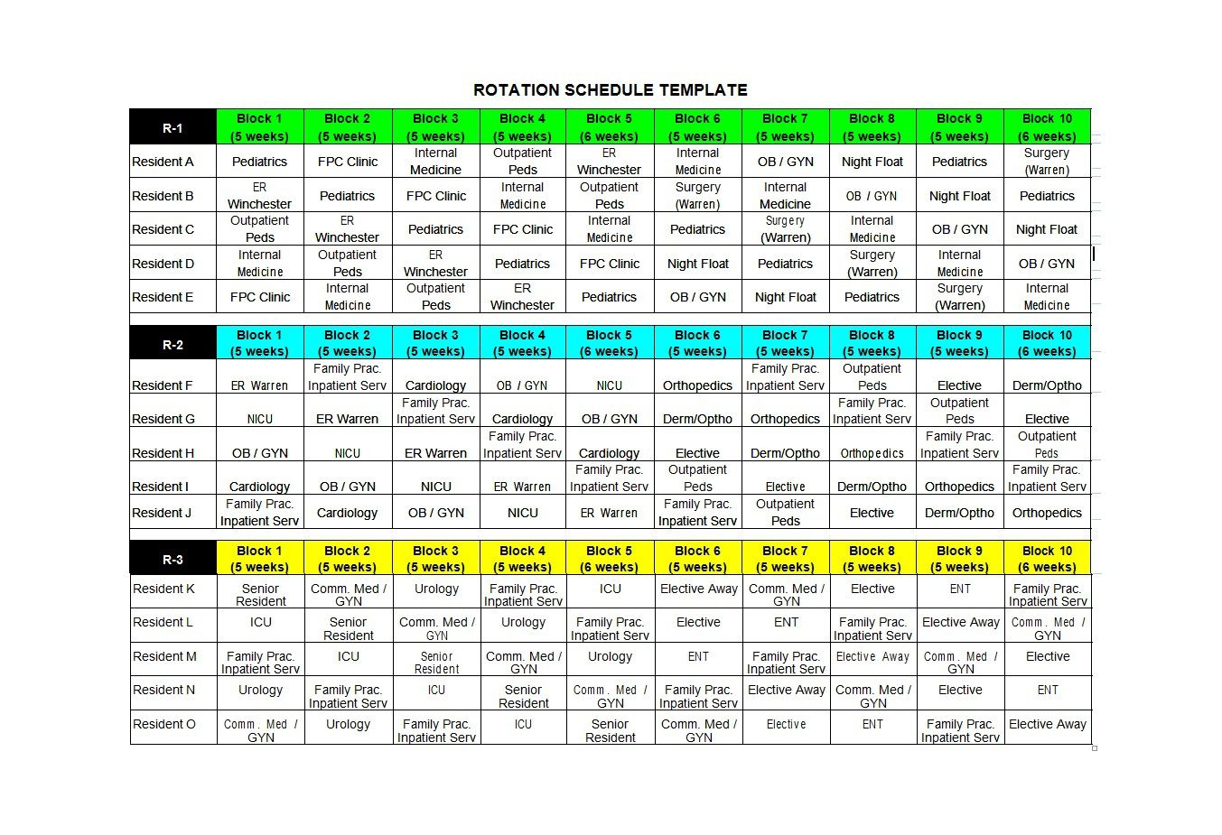 005 Simple Rotating Work Schedule Example Sample  Examples ShiftFull
