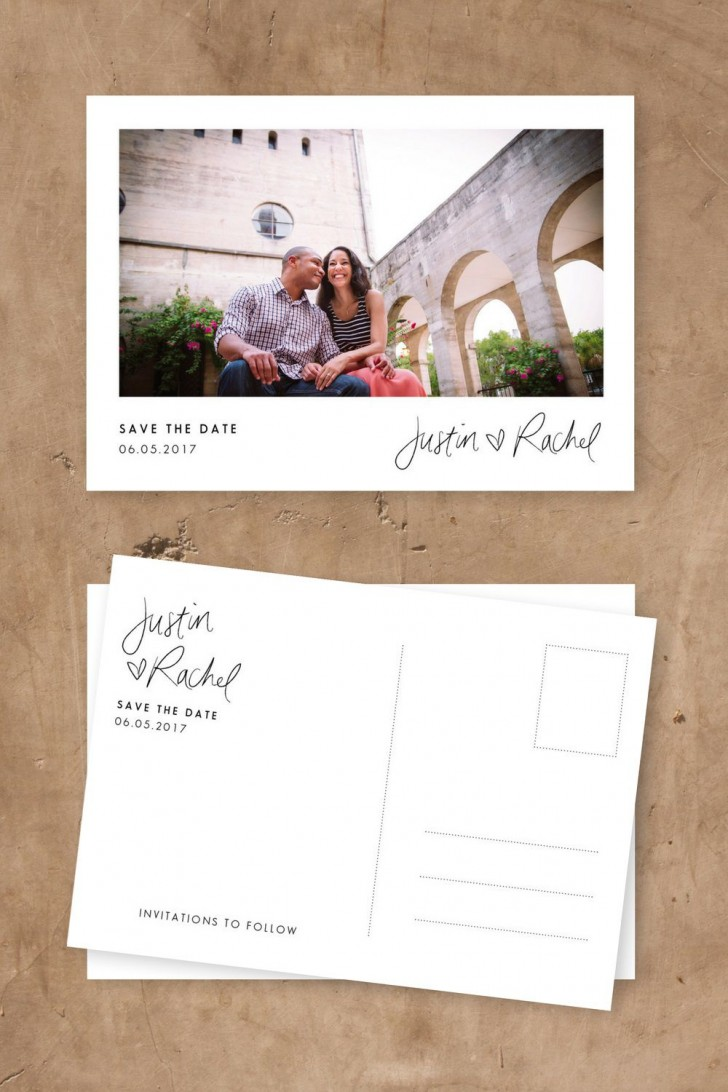 005 Simple Save The Date Postcard Template Highest Quality  Diy Free Birthday728