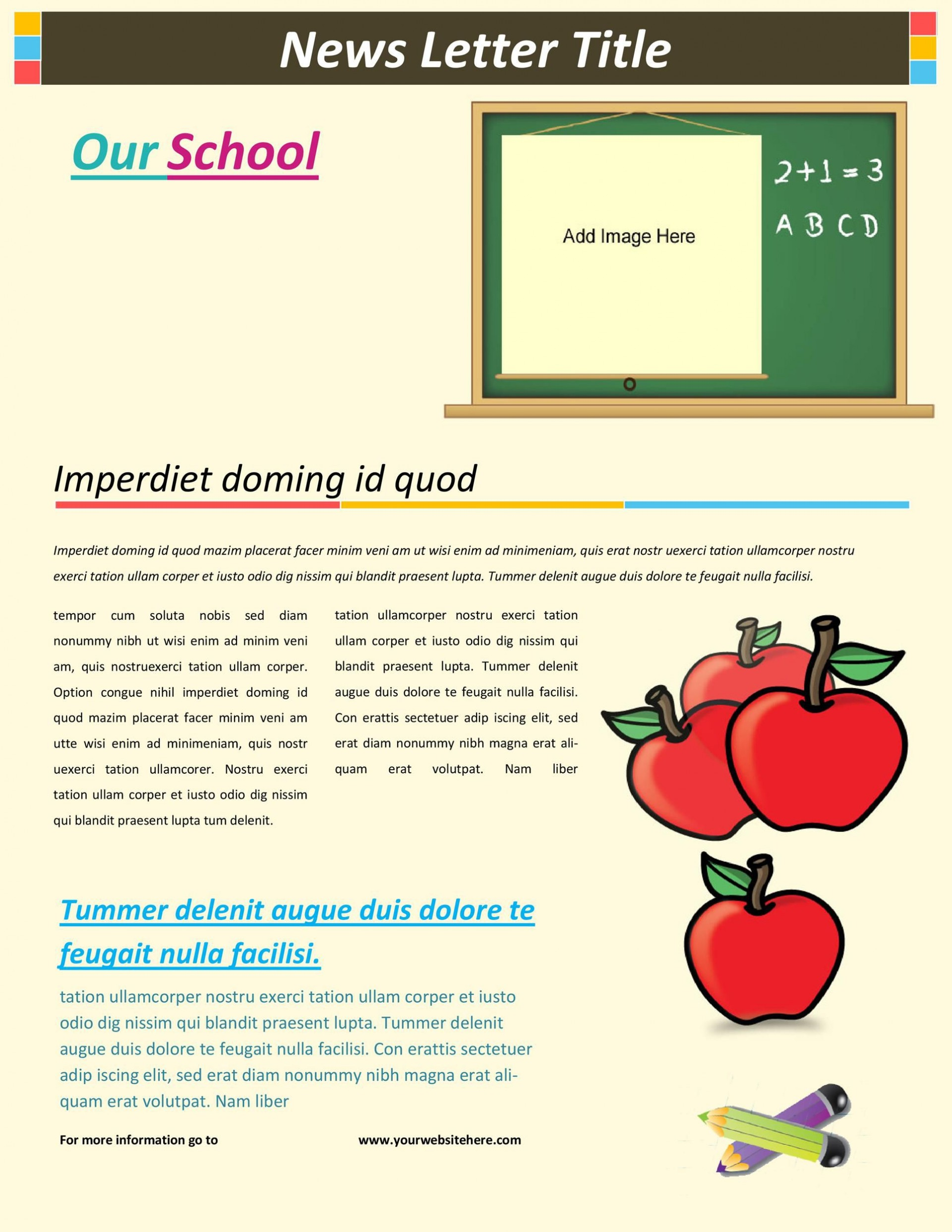 005 Simple School Newsletter Template Word Concept  Free Classroom For Microsoft1920