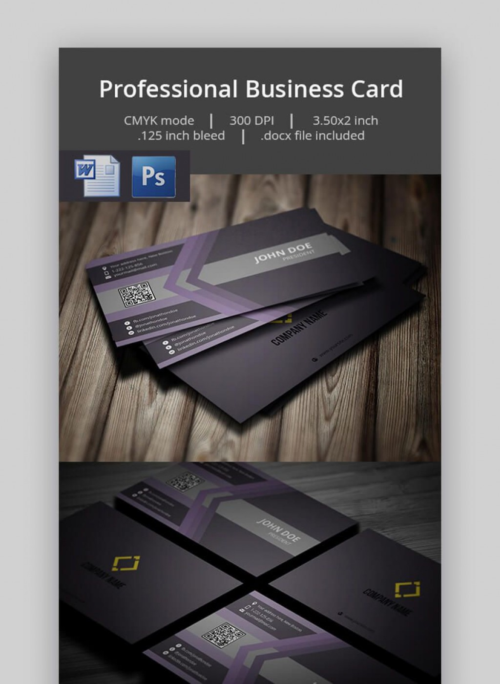 005 Simple Busines Card Template Microsoft Word Photo Large