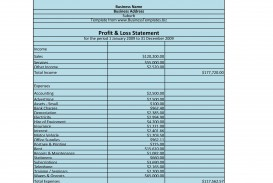 005 Simple Profit And Los Template Idea  Free Form Statement For Self Employed