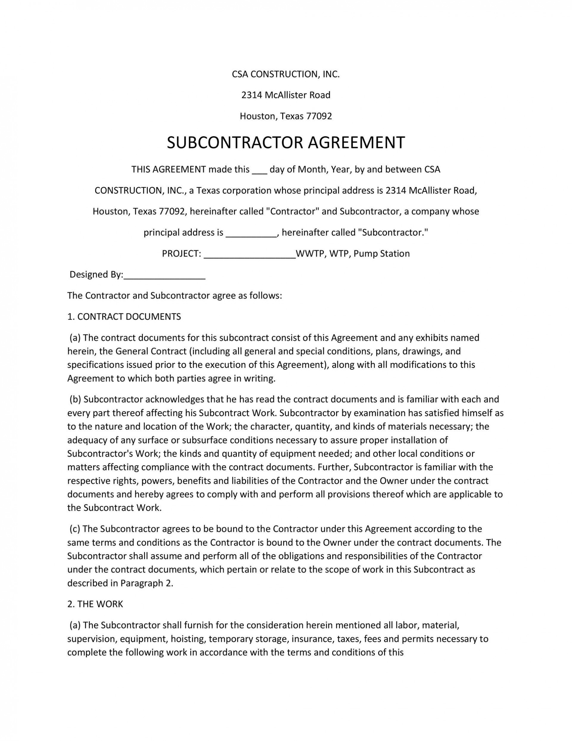 005 Simple Subcontractor Contract Template Free Example  Uk1920