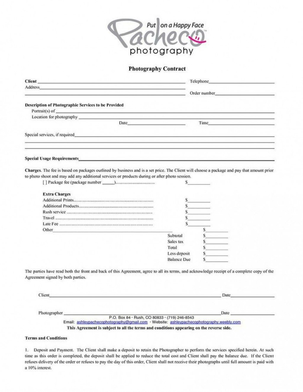 005 Simple Wedding Photographer Contract Template Free High Def  Photography WordLarge