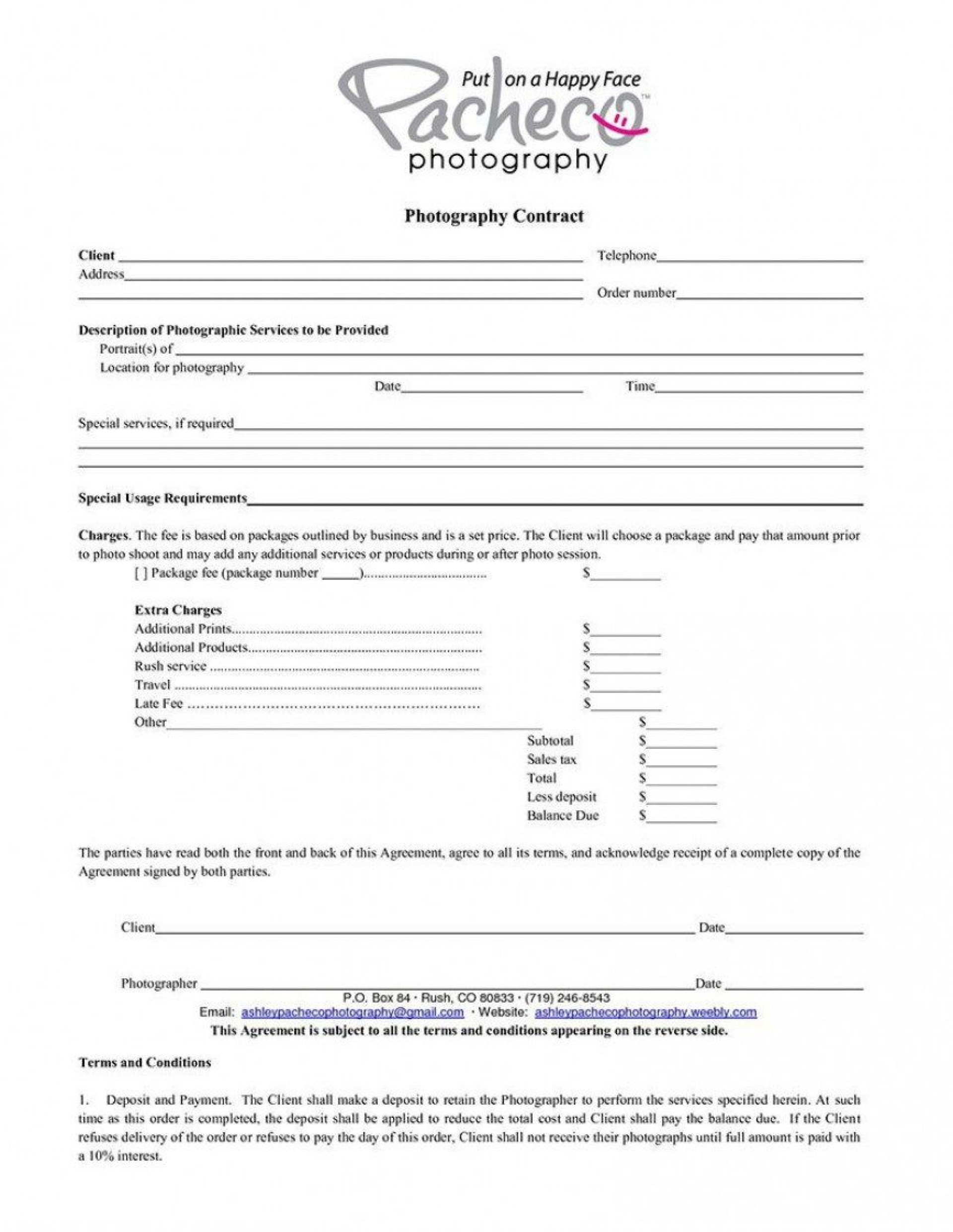 005 Simple Wedding Photographer Contract Template Free High Def  Photography Word1920
