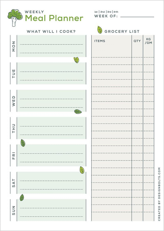 005 Simple Weekly Meal Planning Worksheet Pdf Highest Quality  Free1920