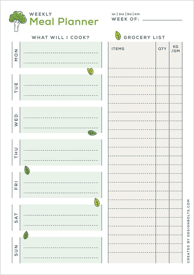 005 Simple Weekly Meal Planning Worksheet Pdf Highest Quality  FreeFull