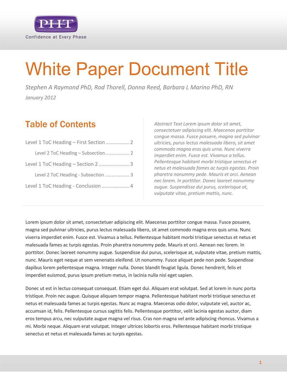 005 Simple White Paper Outline Sample Idea Full