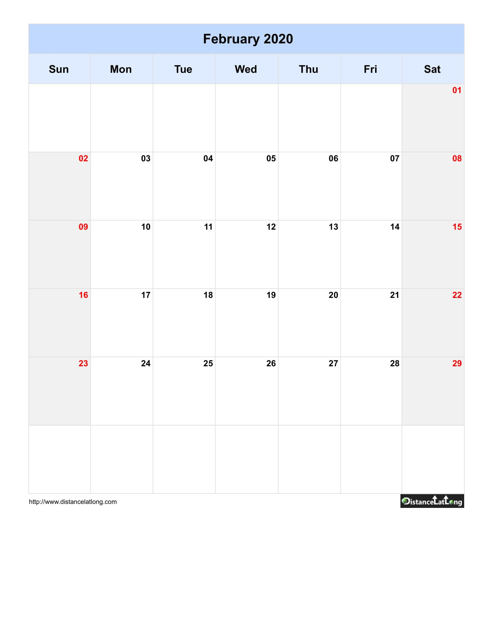 005 Singular 2020 Blank Calendar Template Concept  Printable Monthly Word Downloadable With HolidayFull