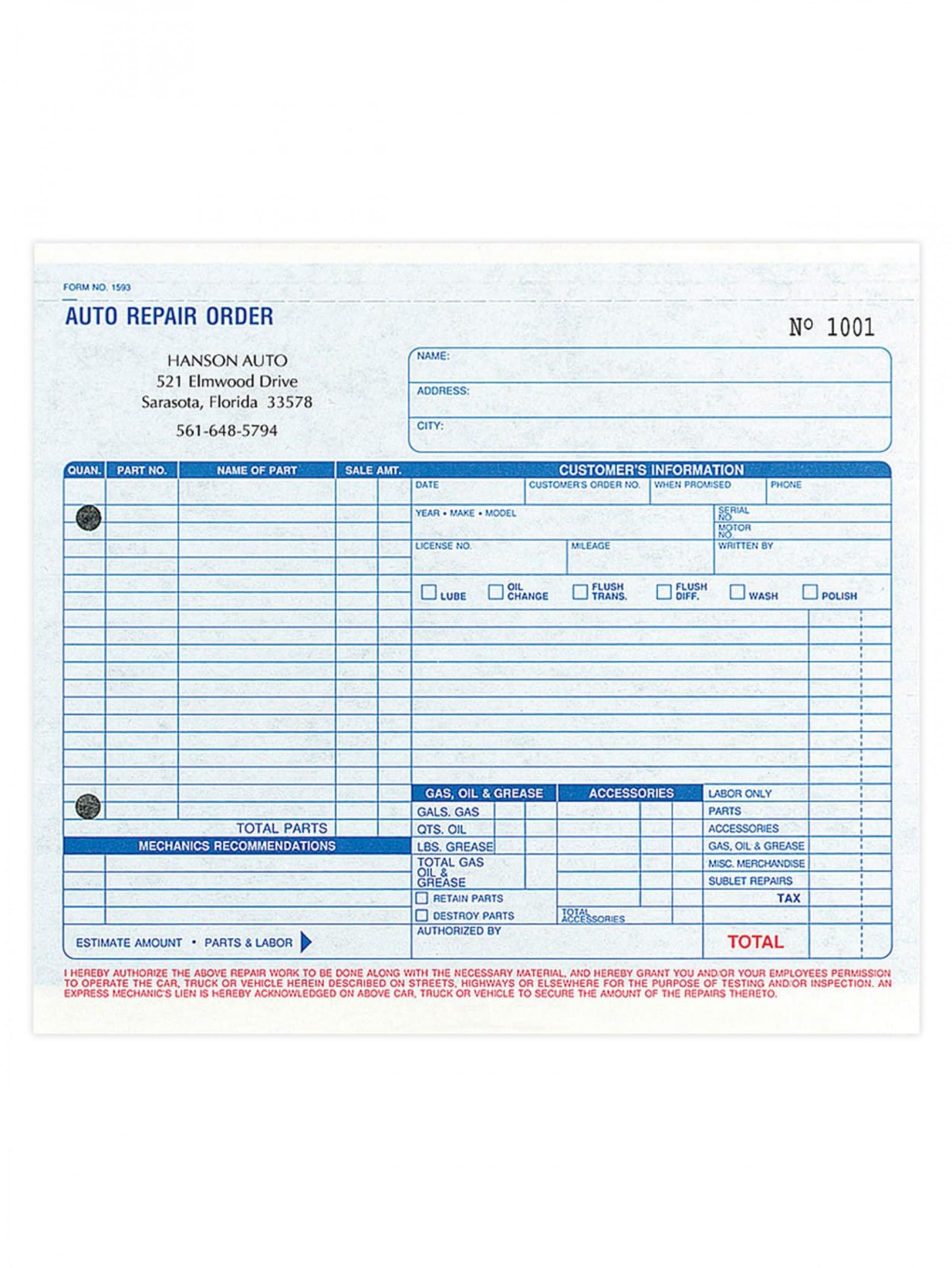 005 Singular Automotive Repair Estimate Template High Definition  Auto Free Download Car Form1920