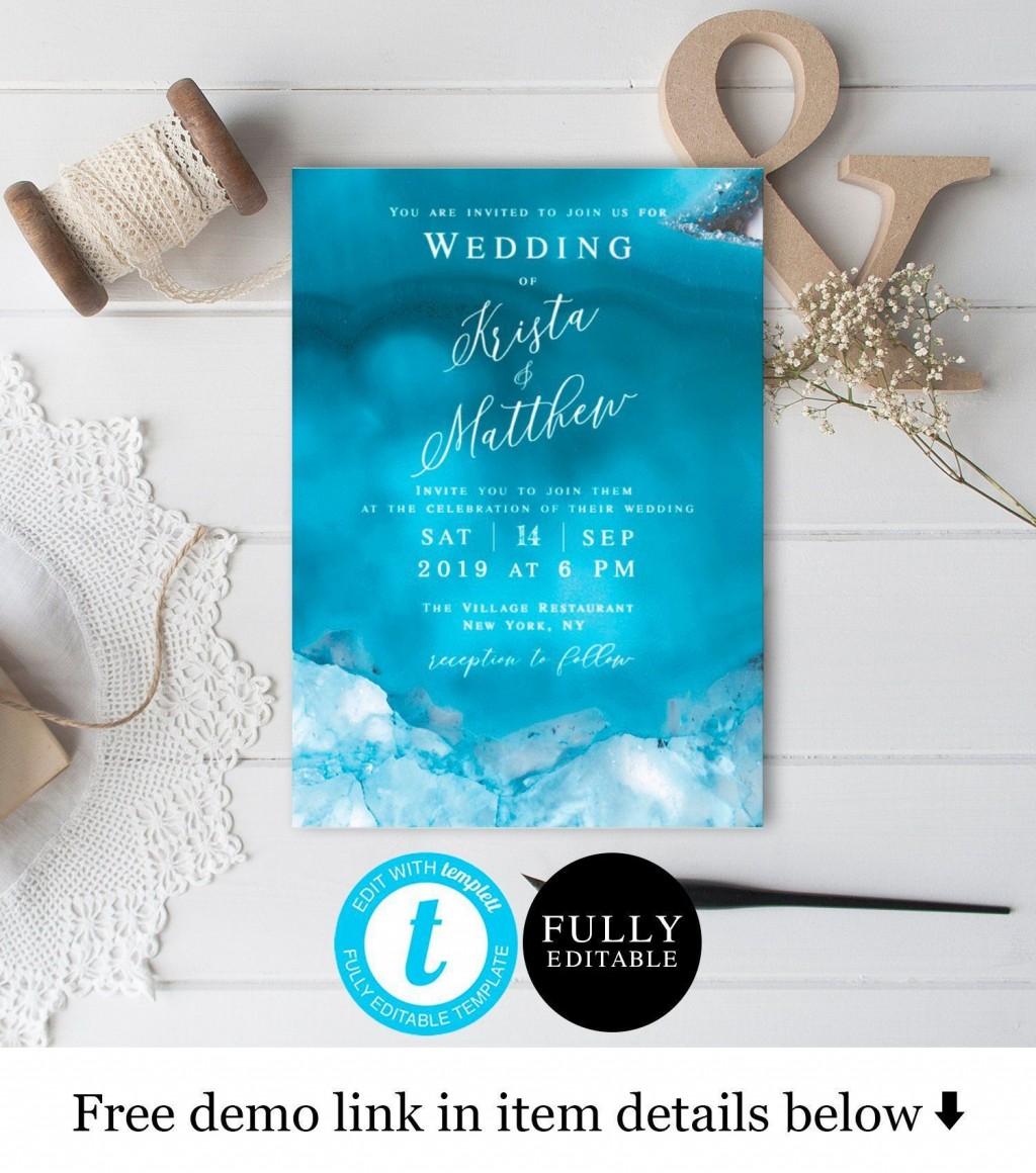 005 Singular Beach Wedding Invitation Template Photo  Templates Free Download For WordLarge