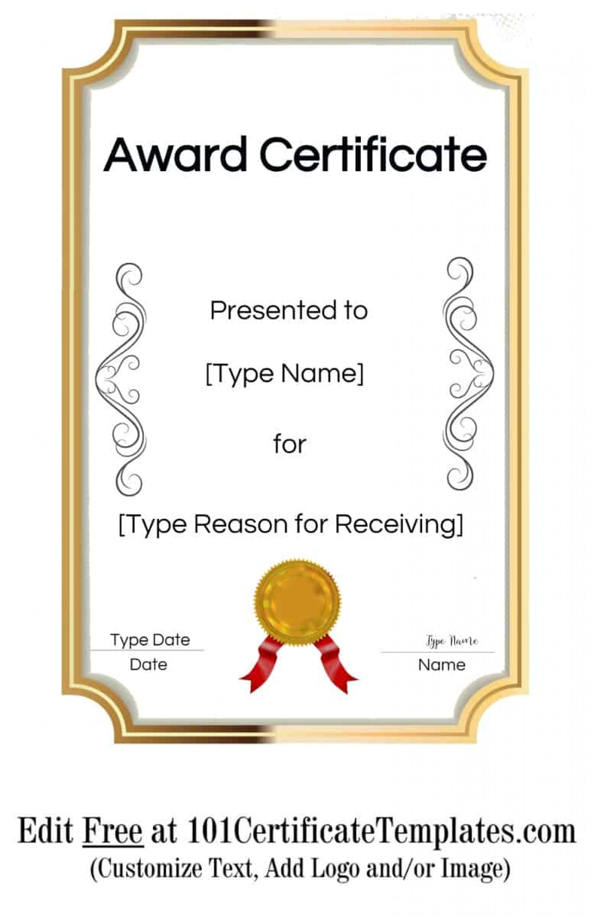 005 Singular Certificate Of Achievement Template Free Idea  Award Download Word1920