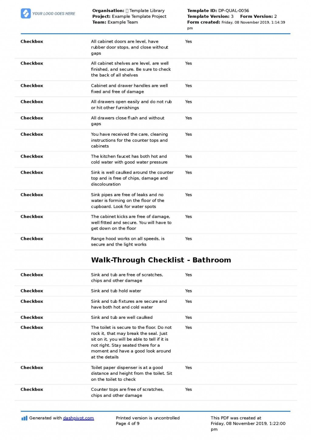 005 Singular Construction Punch List Template Image  New Home PdfLarge