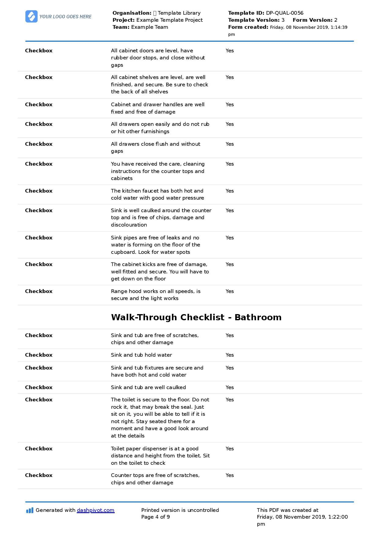 005 Singular Construction Punch List Template Image  New Home PdfFull