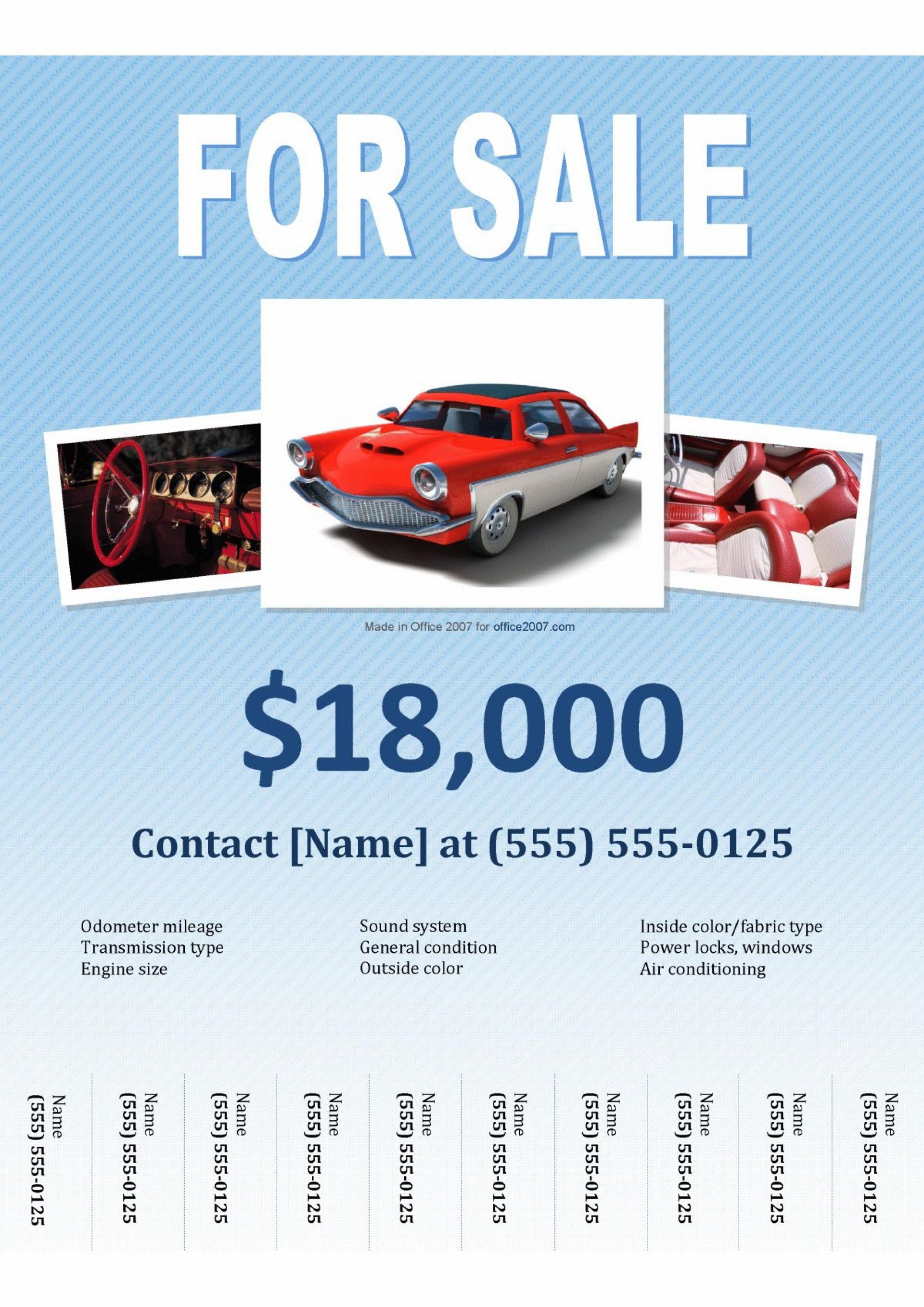 005 Singular For Sale Flyer Template Highest Quality  Car Ad Microsoft Word House1920
