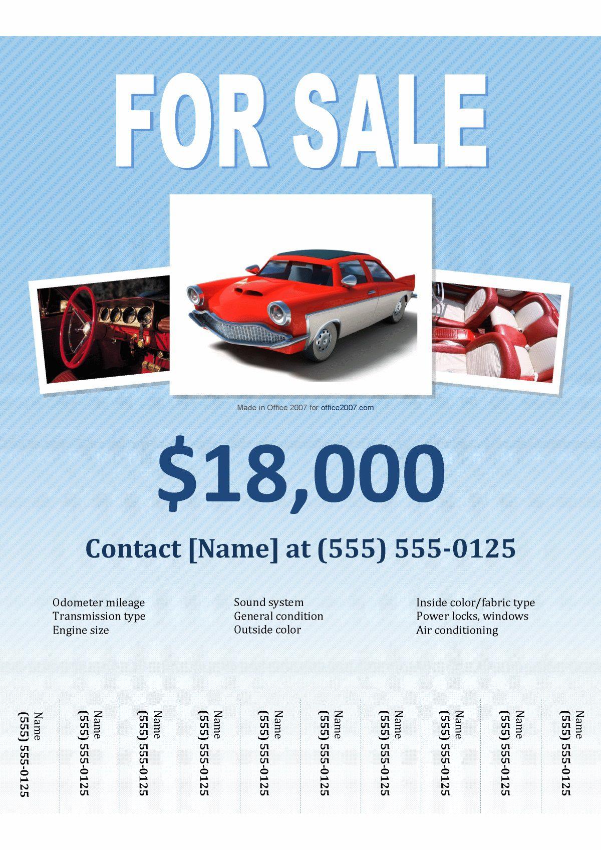 005 Singular For Sale Flyer Template Highest Quality  Car Ad Microsoft Word HouseFull