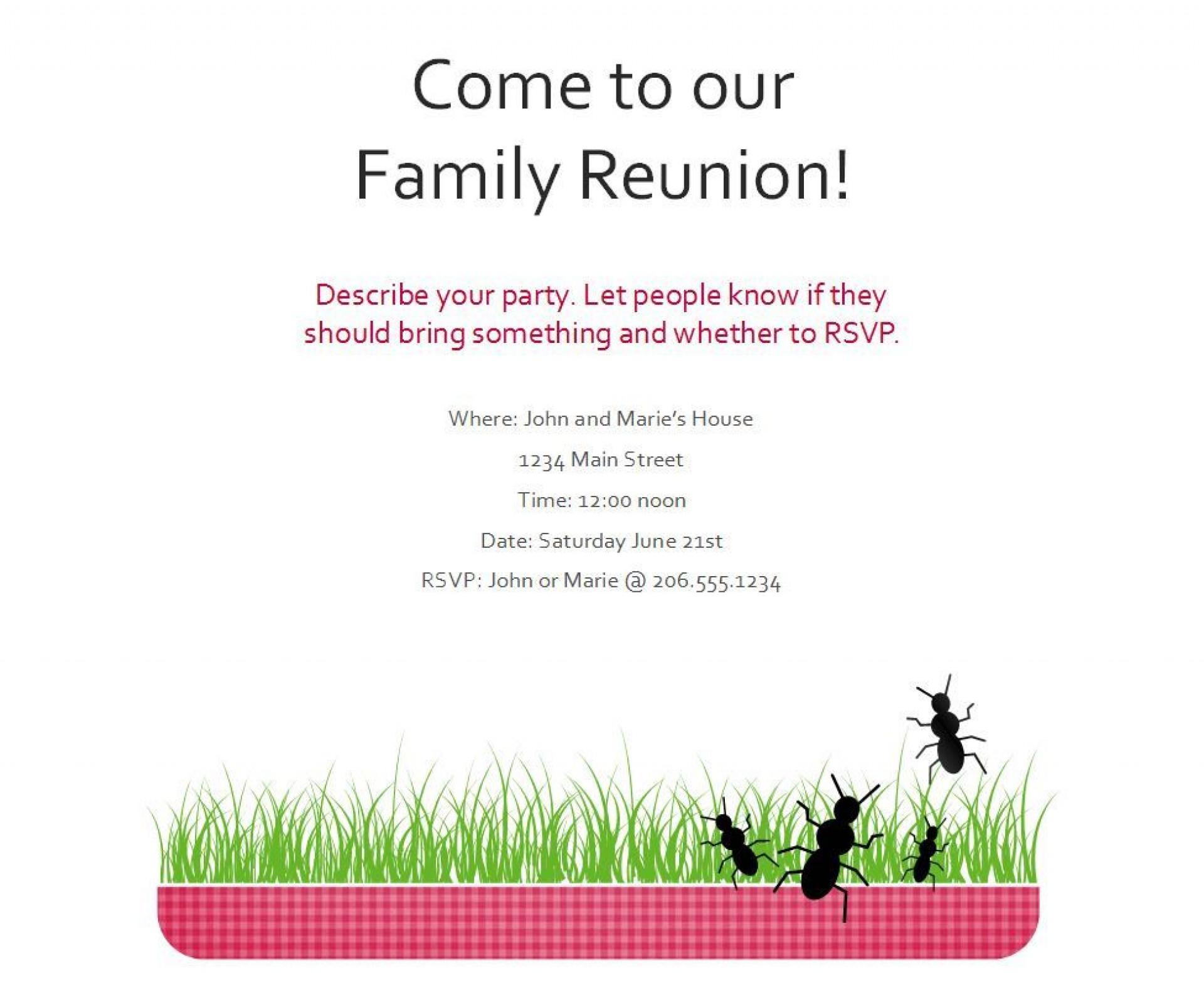 005 Singular Free Family Reunion Flyer Template Word High Def 1920