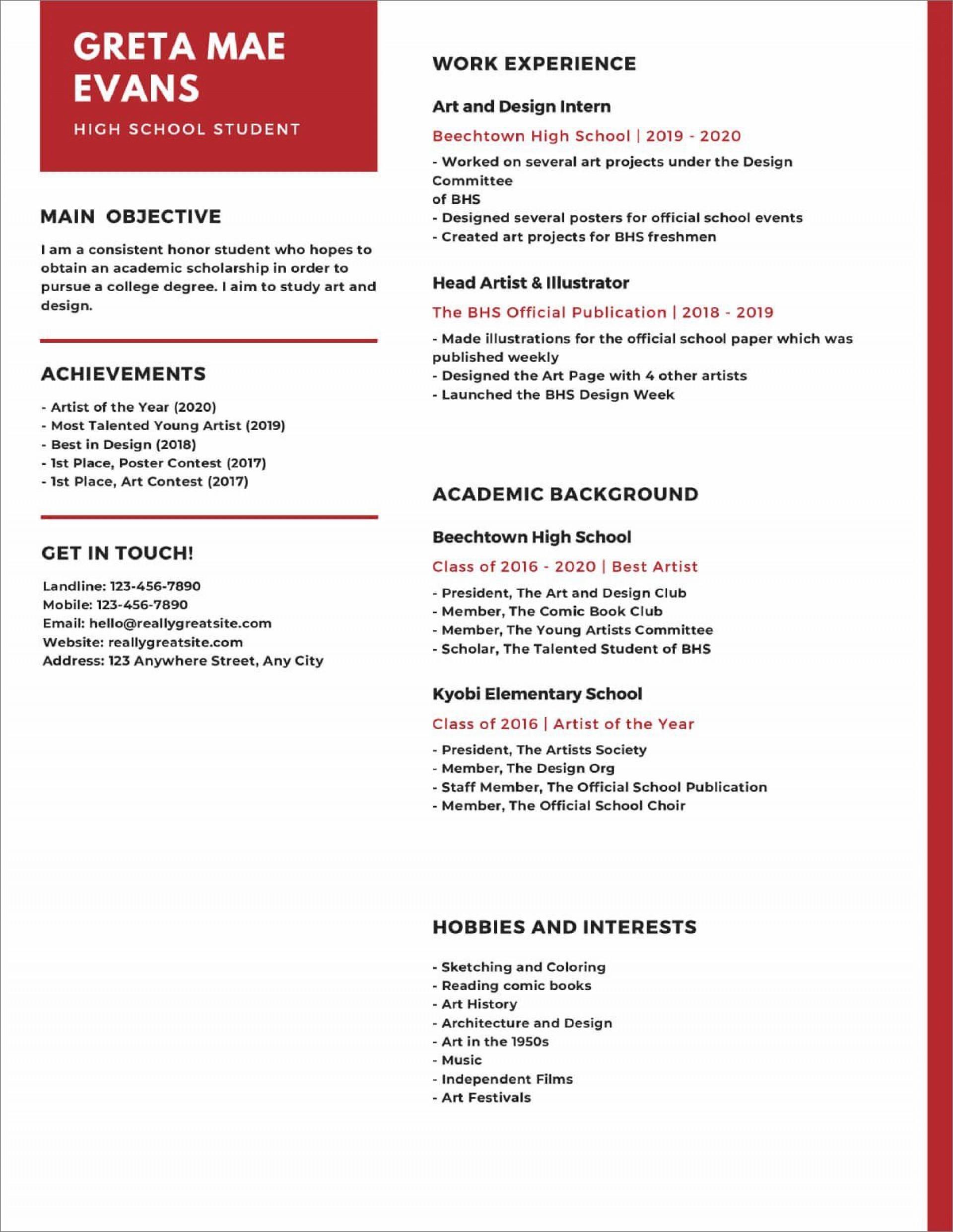 005 Singular Free High School Resume Template Word Design  Student1920