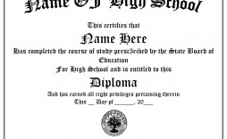 005 Singular Free Printable High School Diploma Template Concept  With Seal