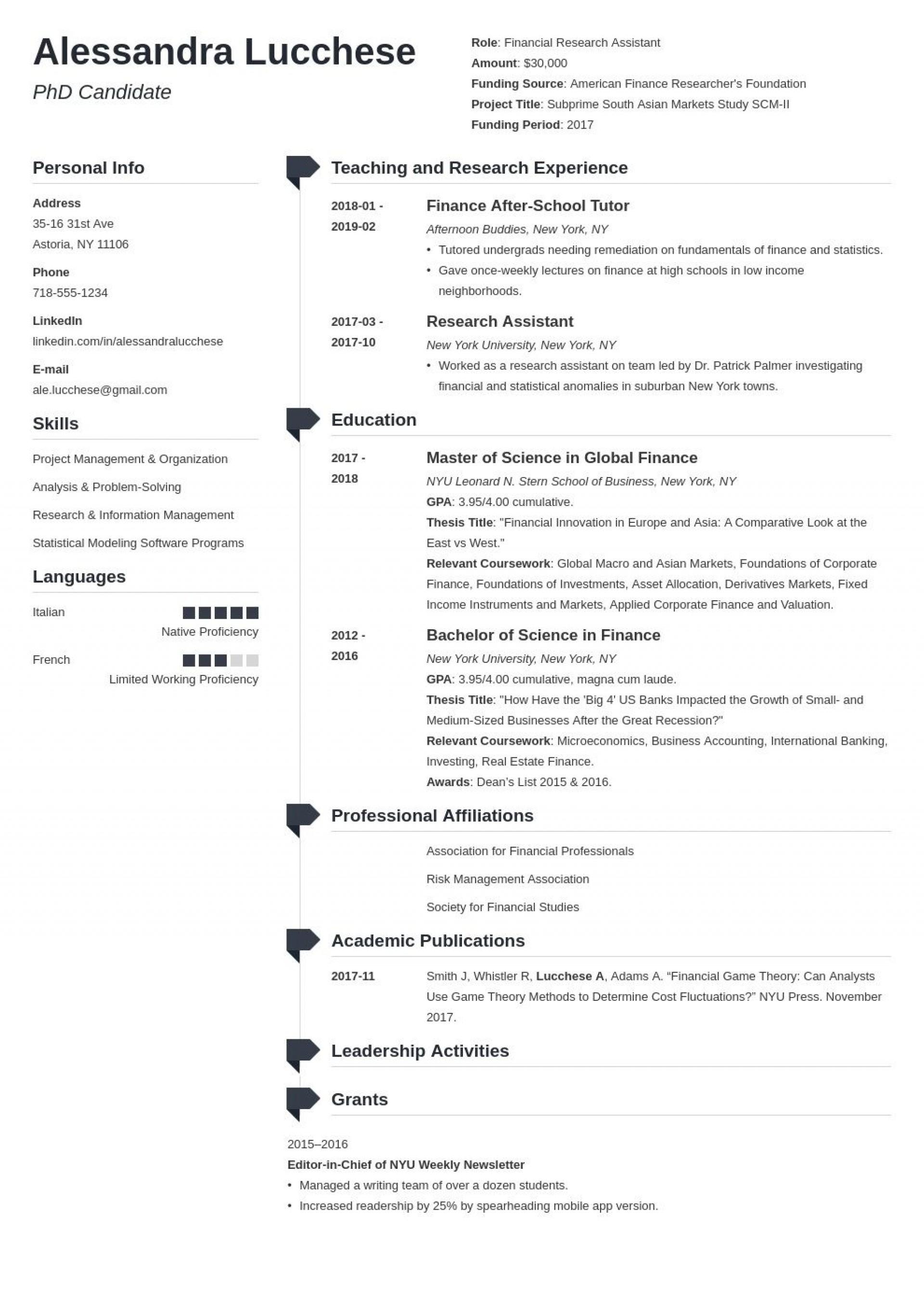 005 Singular Graduate School Resume Template Example  Word Free1920