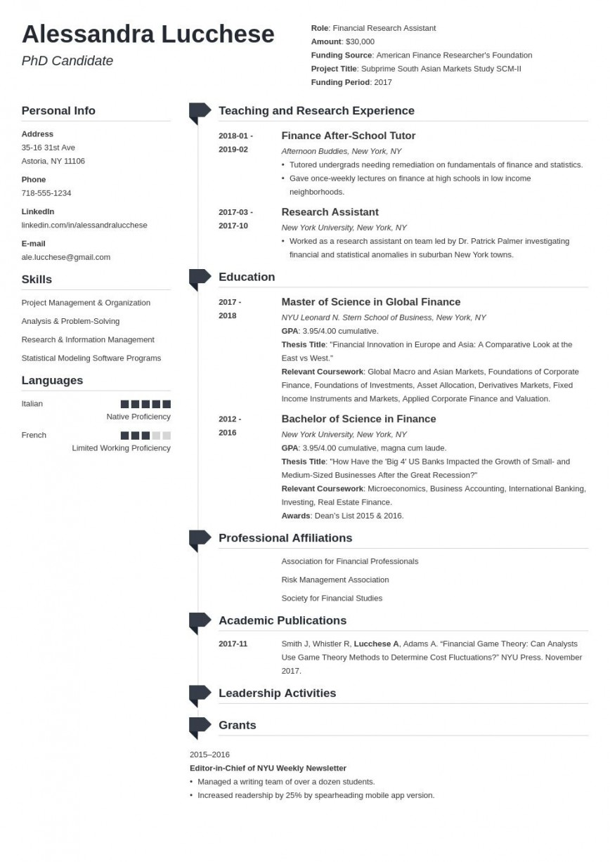 005 Singular Graduate School Resume Template Example  Cv Curriculum Vitae For Application Word