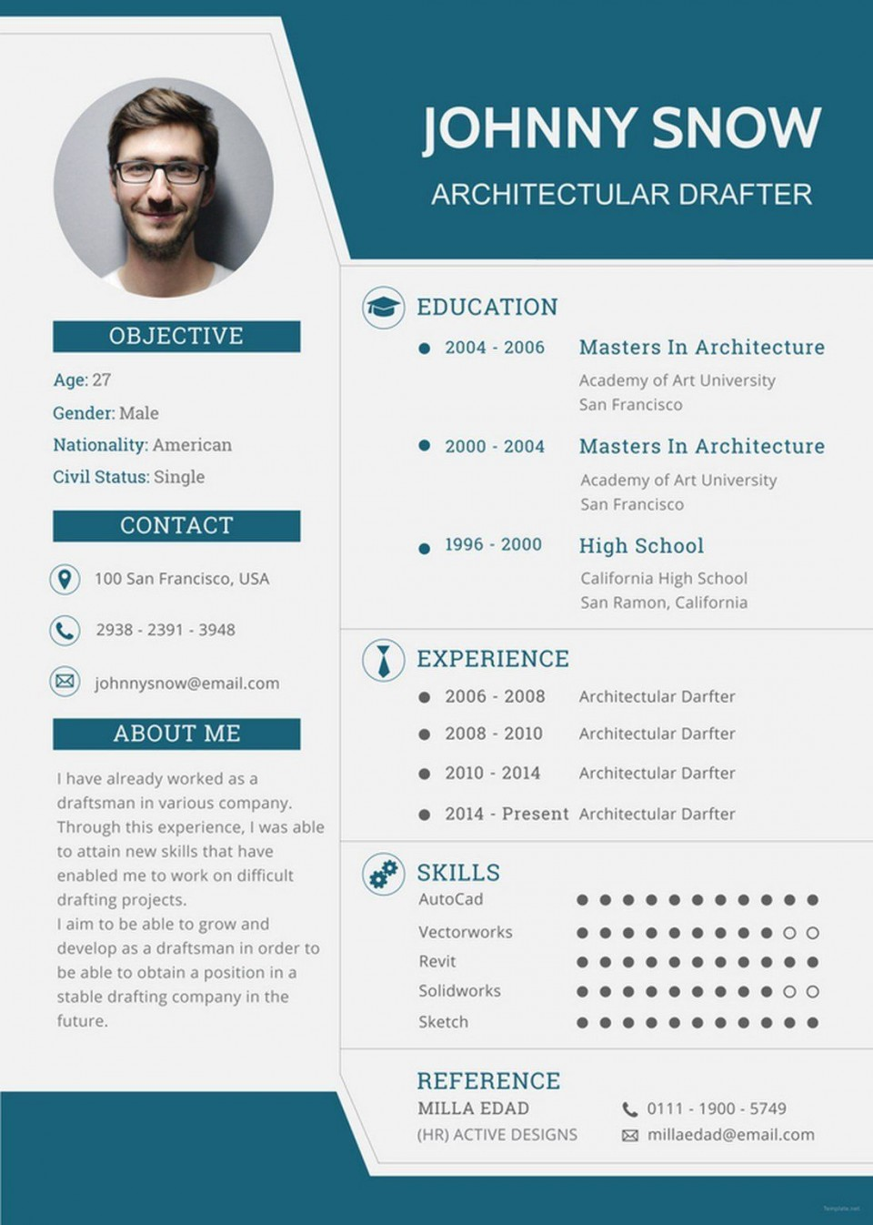 005 Singular One Page Resume Template High Resolution  Word Free For Fresher Ppt Download Html960