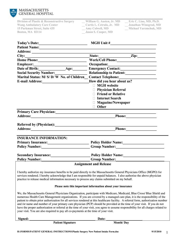005 Singular Patient Intake Form Template Idea  Word Client Excel PdfFull